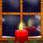 Xmas Candle By Window