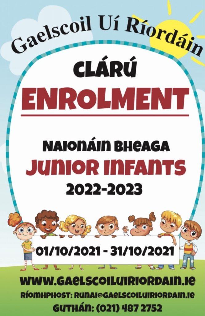 Clárú (Enrolment) don Scoilbliain 2022-2023 ar oscailt(open)